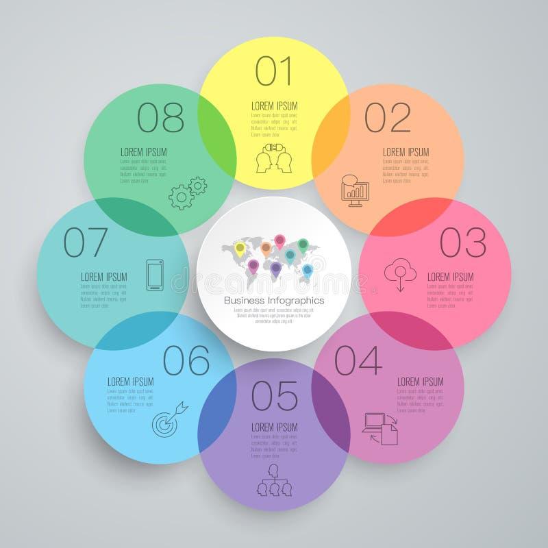 Ícones do vetor e do negócio do projeto de Infographics com 8 opções ilustração stock