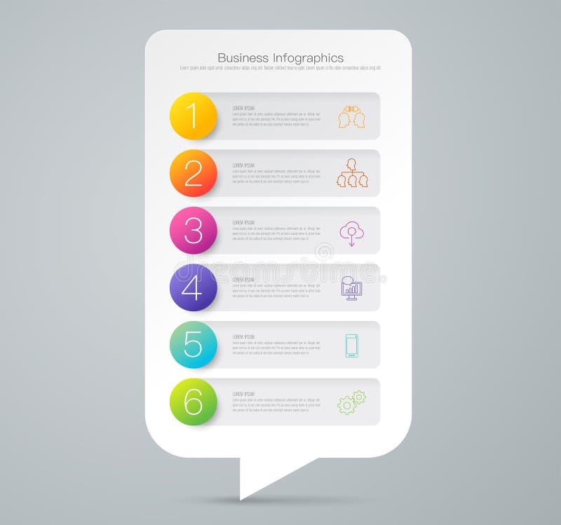 Ícones do vetor e do negócio do projeto de Infographics com 6 opções ilustração royalty free