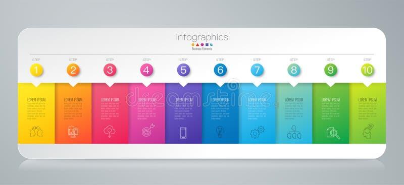 Ícones do vetor e do negócio do projeto de Infographics com 10 opções ilustração stock