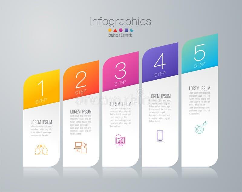 Ícones do vetor e do negócio do projeto de Infographics com 5 opções ilustração stock