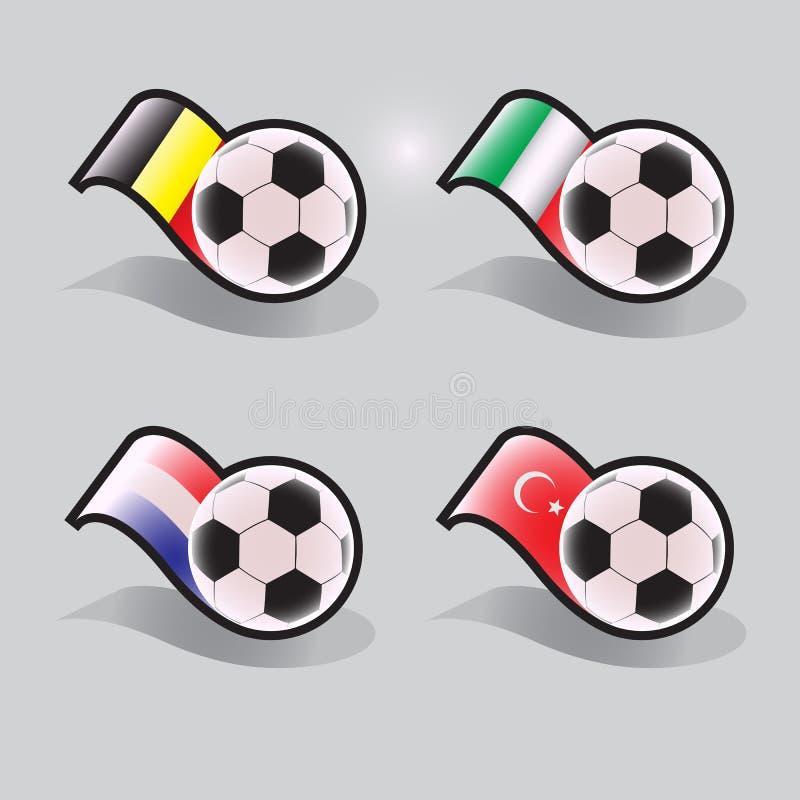Ícones do vetor do futebol com bola e bandeiras imagens de stock