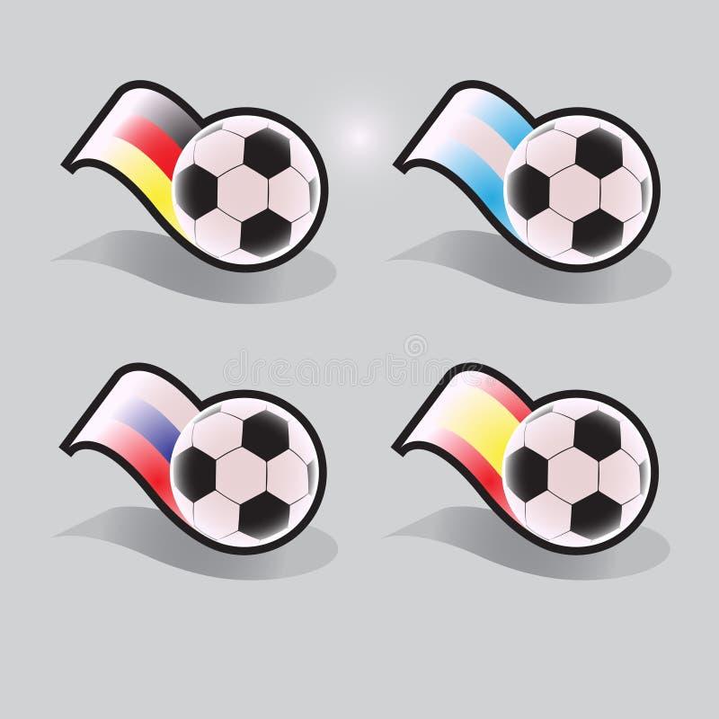 Ícones do vetor do futebol com bola e bandeiras imagens de stock royalty free