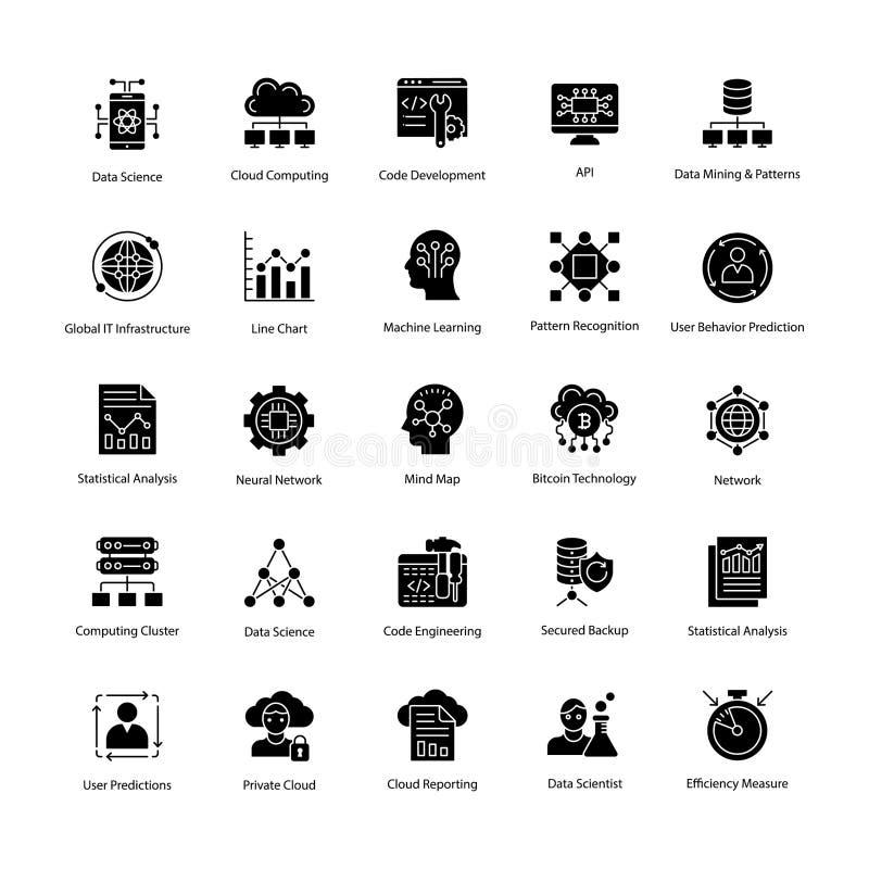 Ícones do vetor do glyph da ciência dos dados ajustados ilustração stock