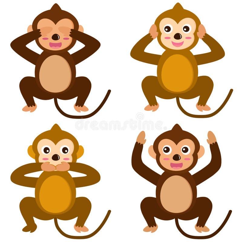 Ícones do vetor: Macaco - veja para ouvir-se para não falar nenhum mal ilustração stock