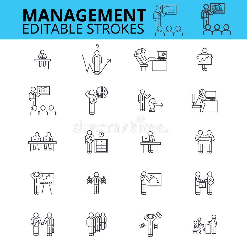Ícones do vetor do ouline da gestão Cursos editáveis Sinais do homem de negócios ajustados Os recursos humanos diluem a linha íco ilustração royalty free