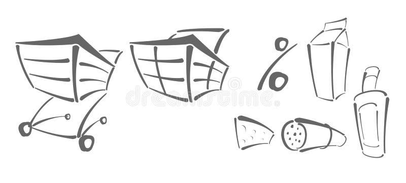 Ícones do vetor para a compra ilustração stock