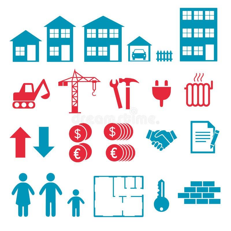 Ícones do vetor para criar o infographics sobre a casa e o prédio de apartamentos, comprar e alugar o mercado ilustração do vetor