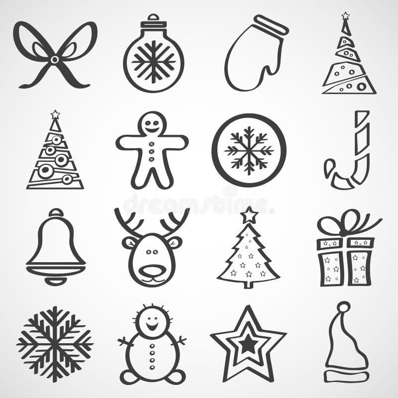Ícones do vetor para o ano novo e o Natal imagem de stock