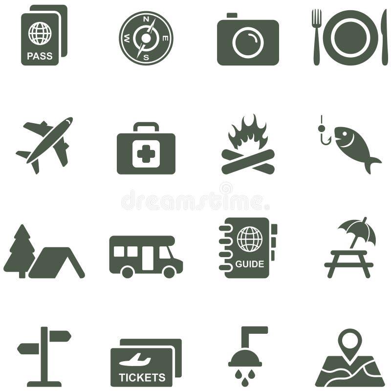 Ícones do vetor para o curso e o turismo. ilustração royalty free