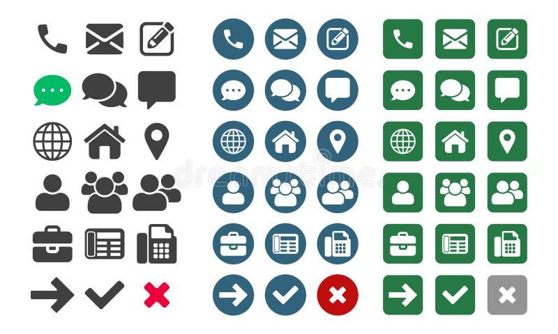 Ícones do vetor UI app do contato ilustração stock