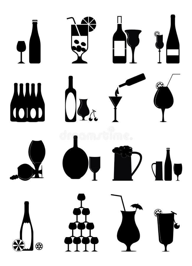 Ícones do vinho ajustados ilustração royalty free