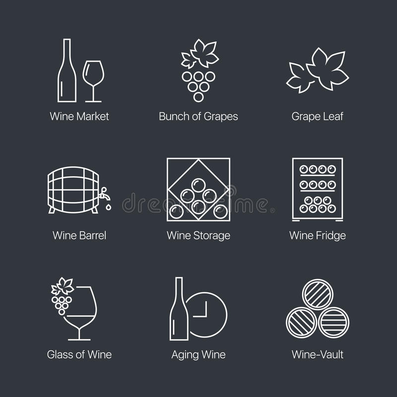 Ícones do vinho ajustados ilustração stock