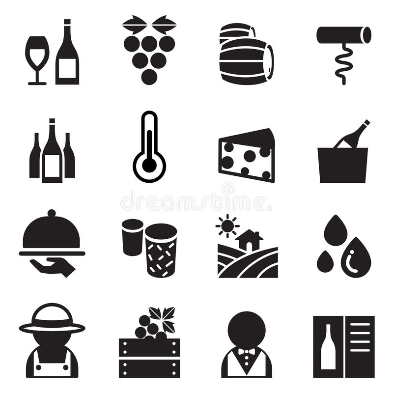 Ícones do vinho ajustados ilustração do vetor