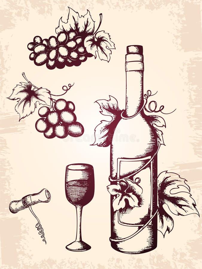 Ícones do vinho do vintage ilustração do vetor
