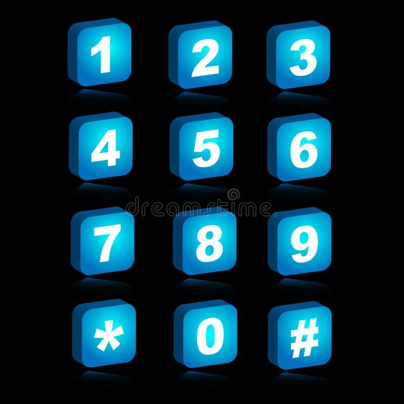 ícones do Web 3D - números ilustração do vetor