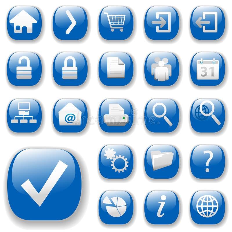 Ícones do Web, azul, DropShadows ilustração do vetor