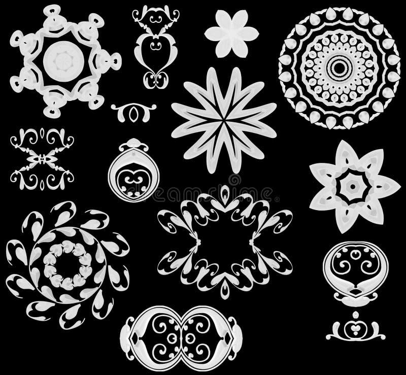 Ícones do Web brancos no preto ilustração stock