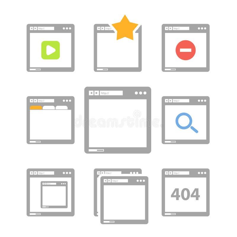 Ícones do web browser ilustração royalty free