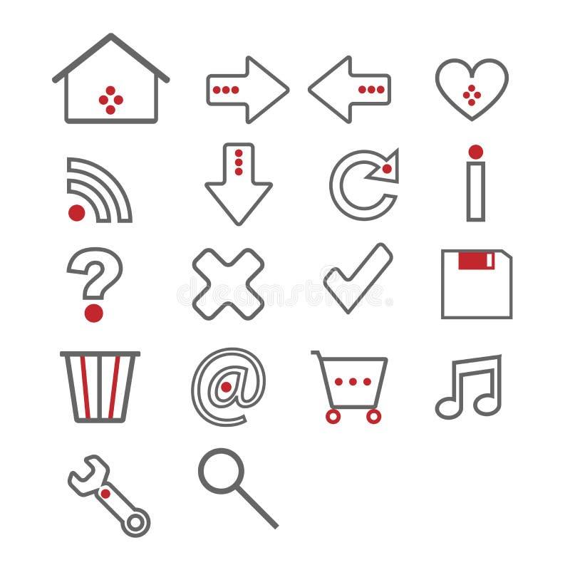 Ícones do Web - cinza e vermelho ilustração do vetor