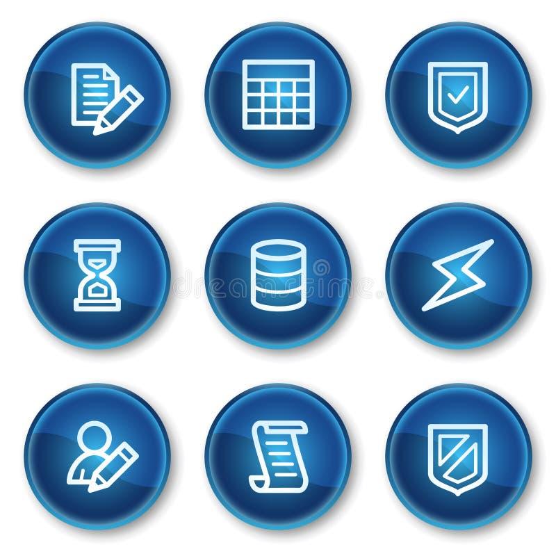 Ícones do Web da base de dados, teclas azuis do círculo ilustração do vetor
