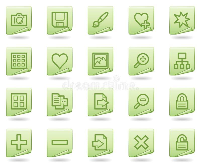 Ícones do Web da biblioteca da imagem, série verde do original ilustração royalty free