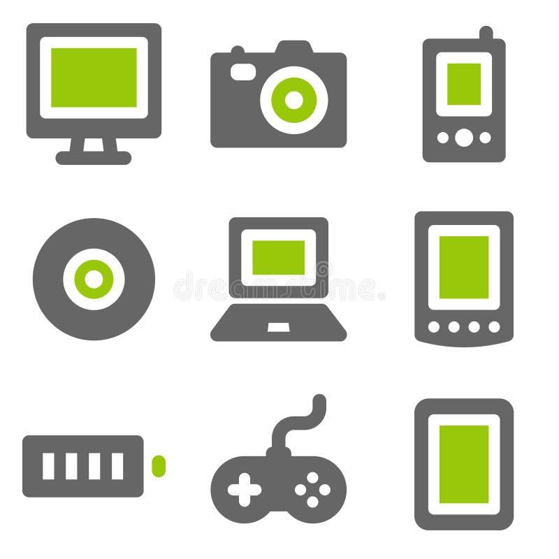 Ícones do Web da eletrônica, ícones contínuos cinzentos verdes foto de stock