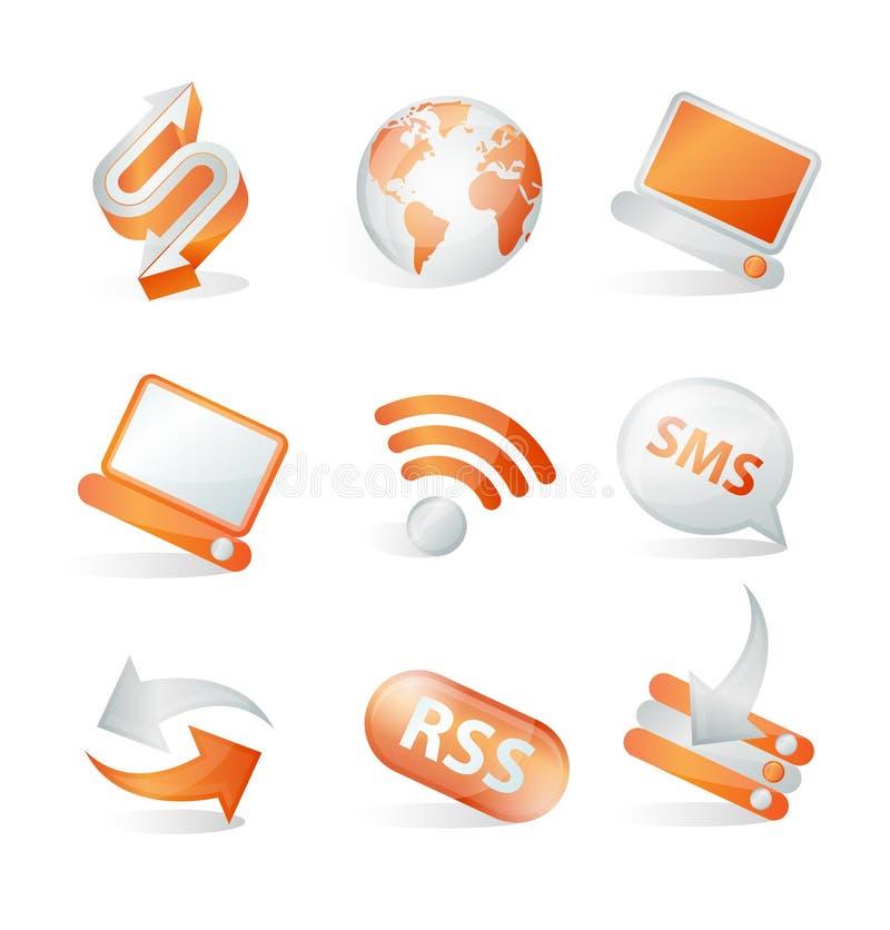 Ícones do Web de uma comunicação ilustração stock
