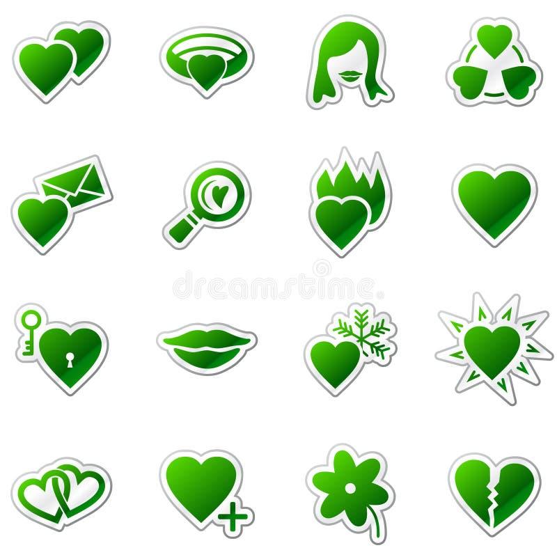 Ícones do Web do amor, série verde da etiqueta ilustração stock