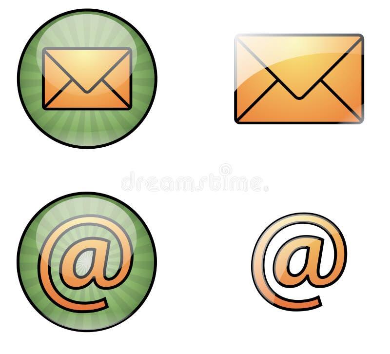 Ícones do Web do correio ilustração stock