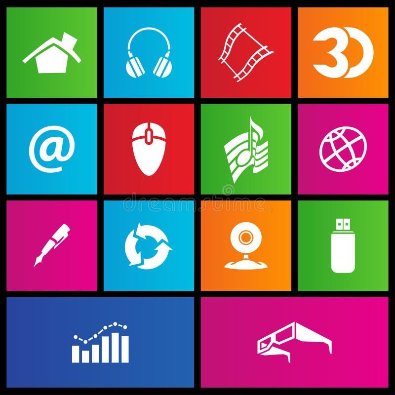 Ícones do Web do estilo do metro ilustração do vetor