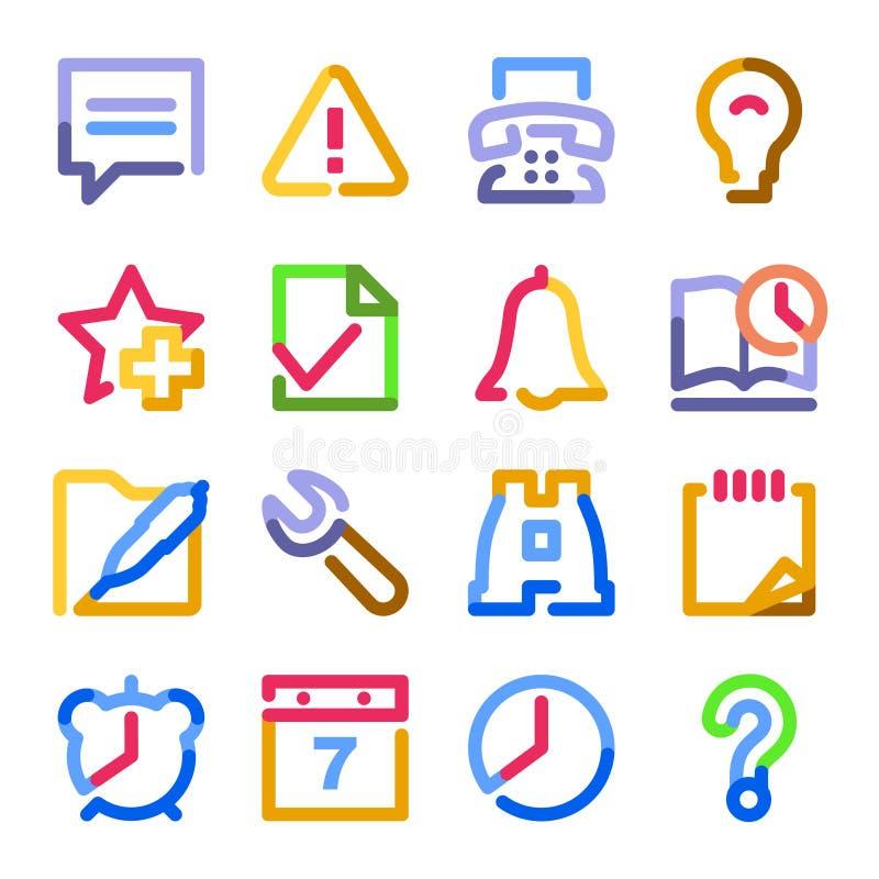 Ícones do Web do organizador. Série do contorno da cor. ilustração do vetor