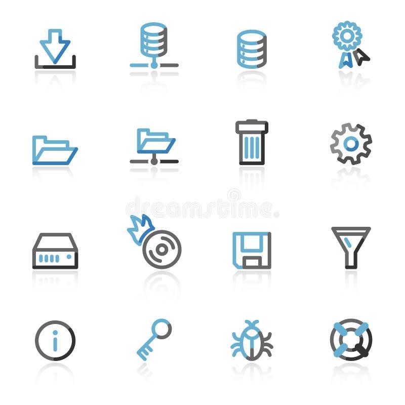 Ícones do Web do server do contorno ilustração stock