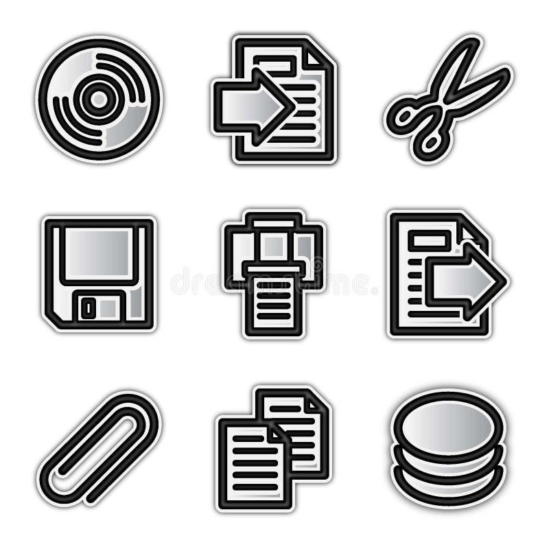 Ícones do Web do vetor, arquivos de prata do contorno ilustração do vetor