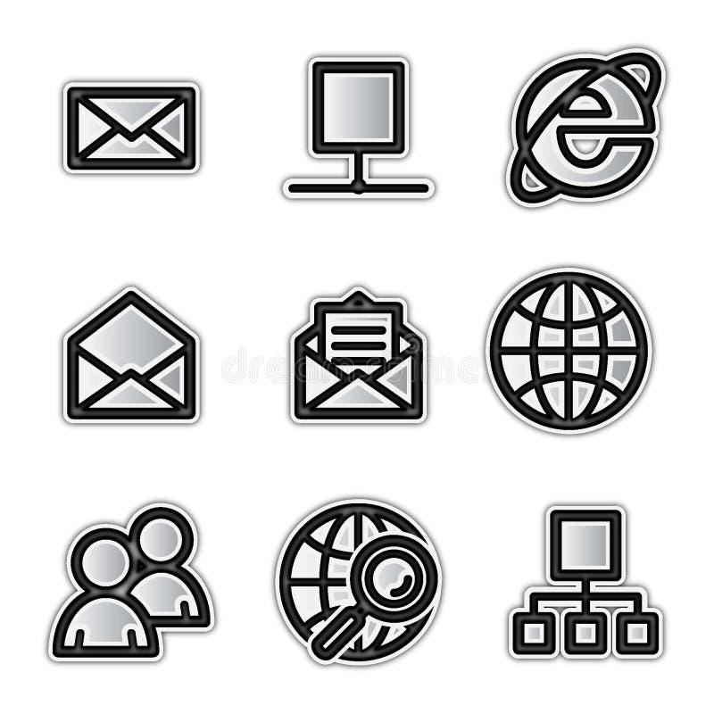 Ícones do Web do vetor, Internet de prata do contorno ilustração stock