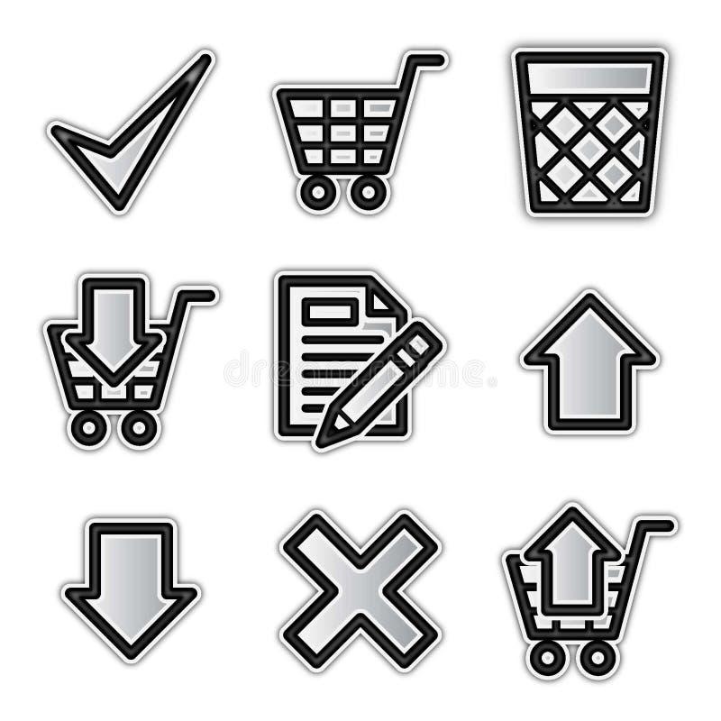 Ícones do Web do vetor, loja de prata do contorno ilustração do vetor