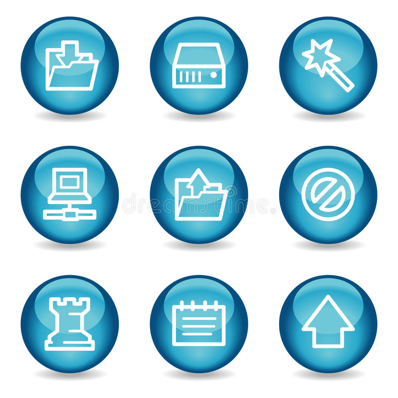 Ícones do Web dos dados, série lustrosa azul da esfera ilustração do vetor