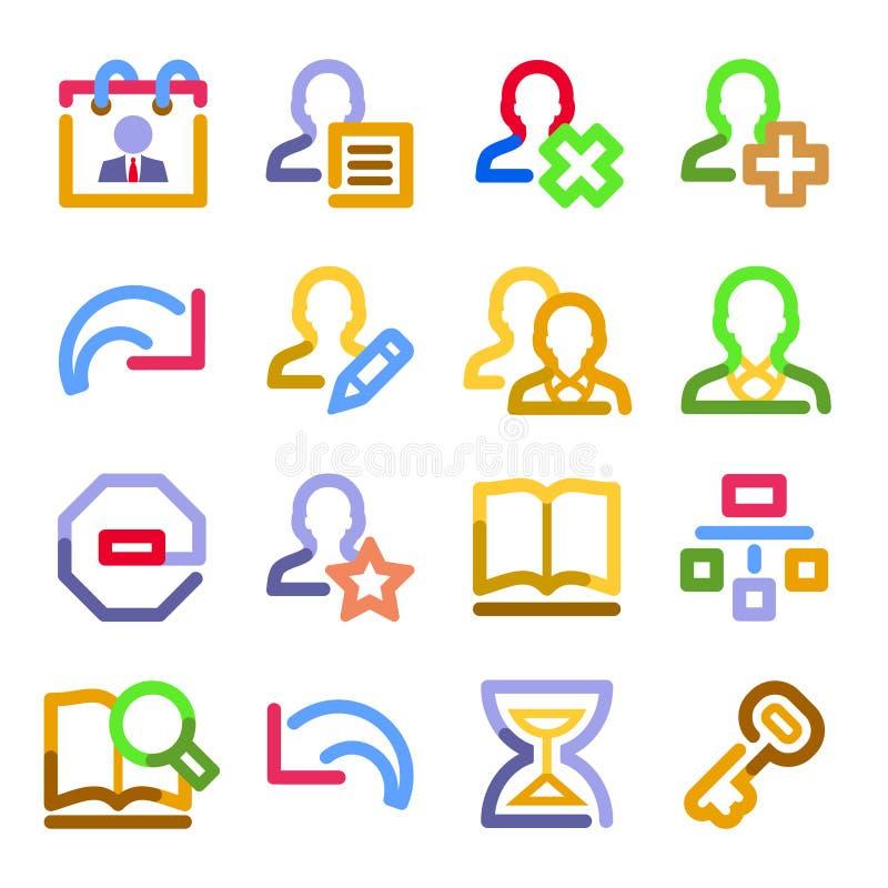 Ícones do Web dos usuários. Série do contorno da cor. ilustração do vetor