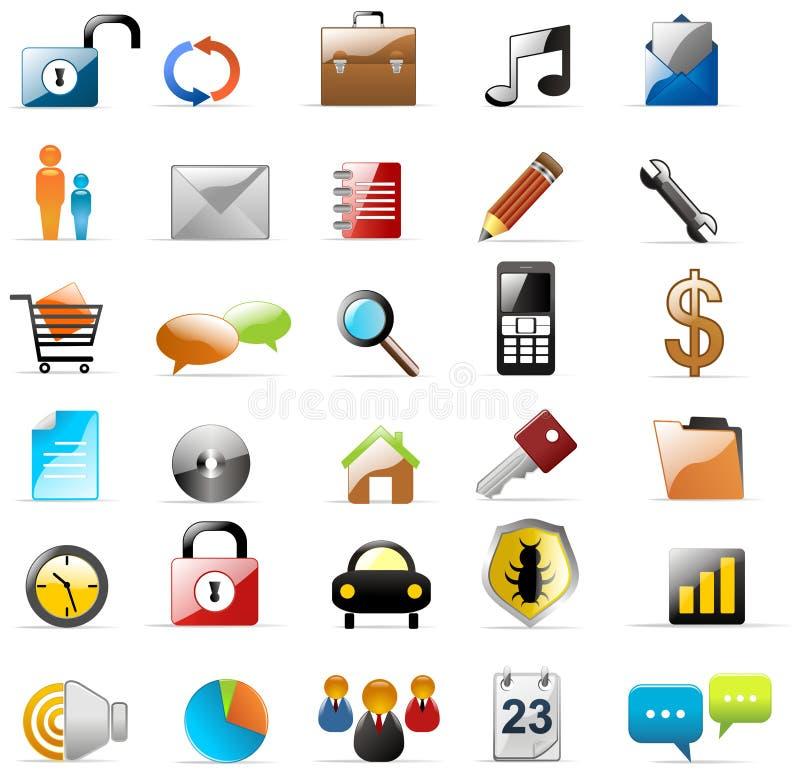 Ícones do Web e dos multimédios ilustração stock