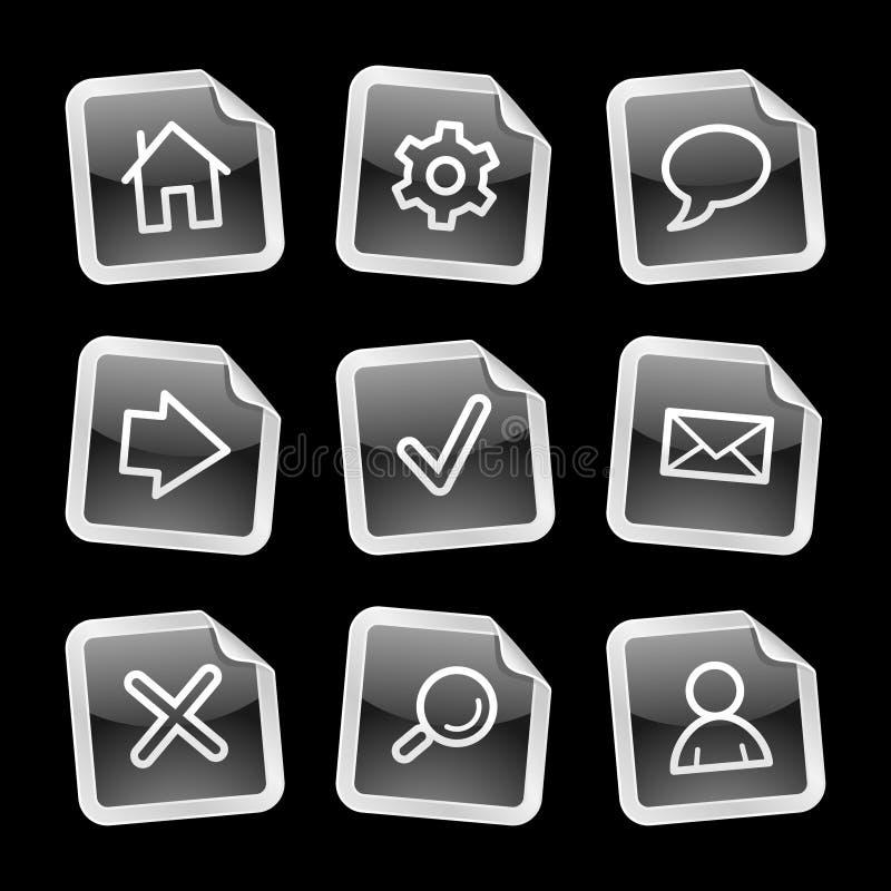 Ícones do Web, etiqueta preta ilustração stock