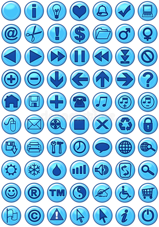Ícones do Web no azul ilustração stock