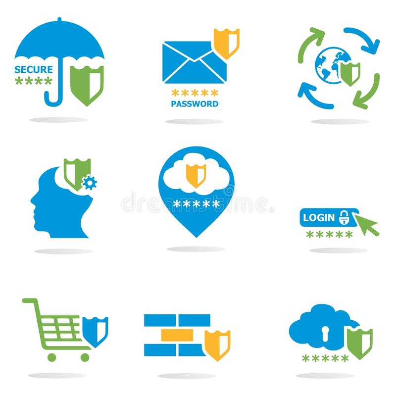 Ícones do Web site da segurança informática ajustados ilustração do vetor