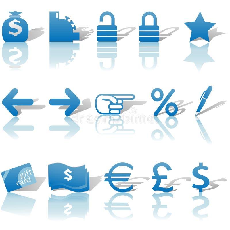 Ícones do Web site do dinheiro da finança ajustados azuis ilustração stock