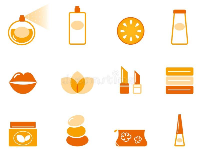 Ícones do Wellness, dos termas e do cosmético ajustados ilustração do vetor