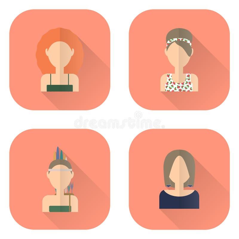 Ícones do zodíaco das mulheres no estilo liso Leão, Libra, Virgem, Sagitário ilustração royalty free