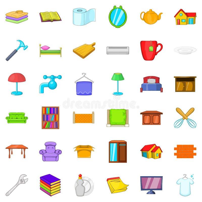 Ícones doces ajustados, estilo da casa dos desenhos animados ilustração stock