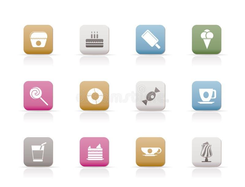 Ícones doces do alimento e dos confeitos ilustração do vetor