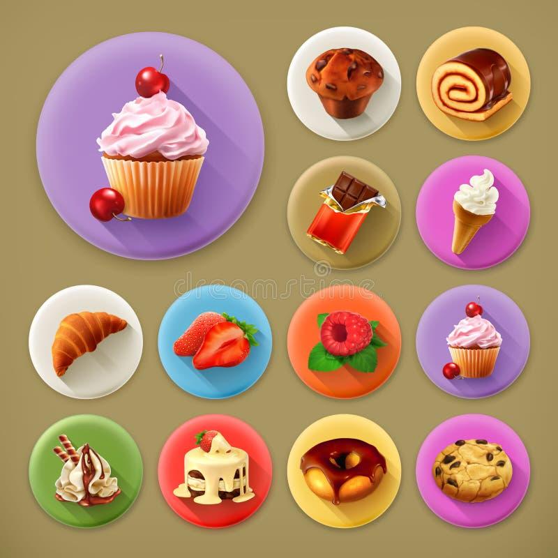Ícones doces e saborosos, longos da sombra ilustração royalty free