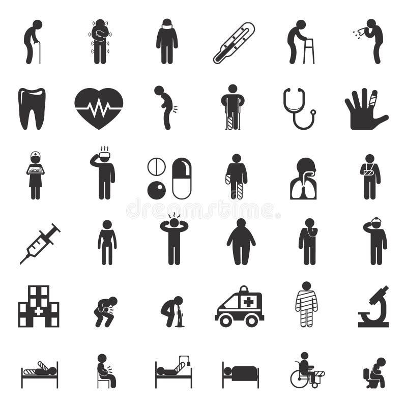 Ícones doentes e médicos Cuidados médicos dos povos ilustração stock