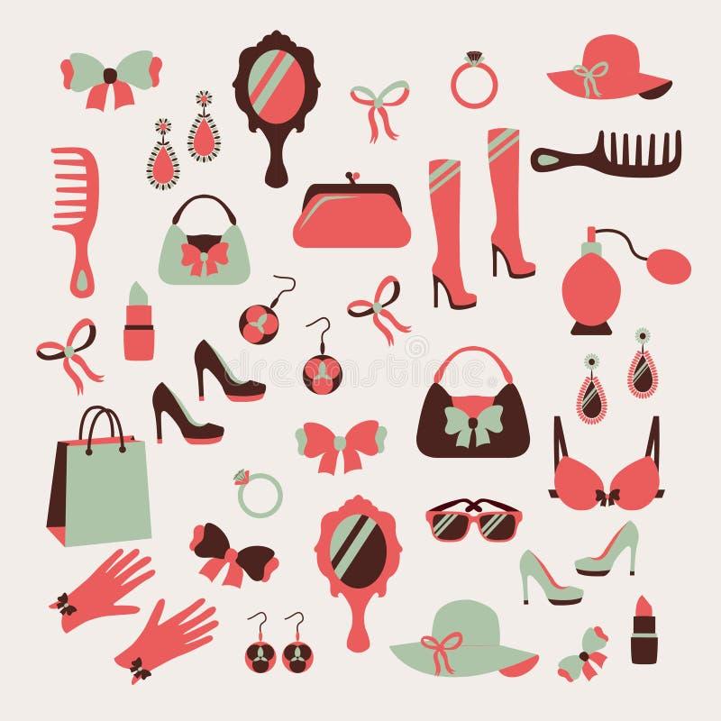 Ícones dos acessórios da mulher ajustados ilustração do vetor