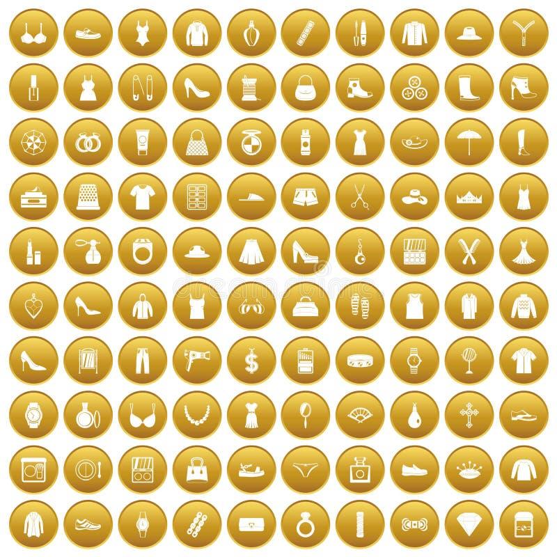 100 ícones dos acessórios das mulheres ajustaram o ouro ilustração stock